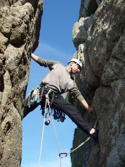 Yoga on the go: Nick attempts the Utthita Trikonasana on the Long Climb