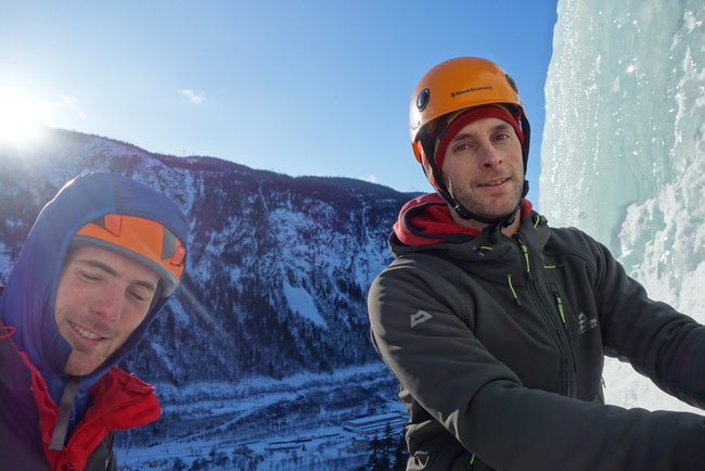 Neil and James on one of the few sunny belays in Rjukan!
