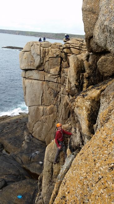 Mark enjoying the climbs at Sennen